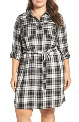 Vince Camuto Plus Size Women's Two By Shadow Check Belted Utility Shirtdress