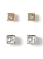 Topman Mixed Metal Crystal Stud Earring Pack Silver