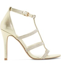 Dune Mahikie Diamante Leather Sandals Gold Leather