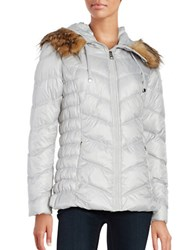 Guess Long Sleeve Faux Fur Puffer Jacket Pearl