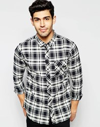 Another Influence Black And White Flannel Check Shirt Black