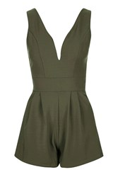 Wal G Sleeveless Plunge Playsuit By Khaki