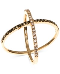 Judith Jack Gold Plated Sterling Silver Marcasite And Crystal Crisscross Ring