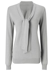 Jacques Vert Tie Neck Jumper Light Grey