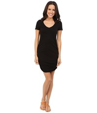 Michael Stars Short Sleeve V Neck Rouched Mini Dress Black Women's Dress
