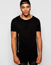 Asos Longline T Shirt With Gold Side Zip In Relaxed Skater Fit Black