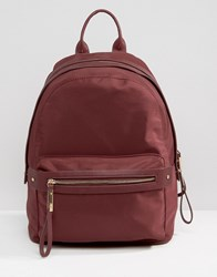 Pieces Nylon Minimal Structured Backpack In Fig Fig Purple
