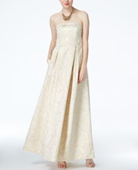 B Darlin Juniors' Pleated Floral Print Gown Ivory Gold