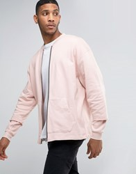 Asos Oversized Jersey Bomber Jacket With Double Layer Sleeve Rosedust Pink