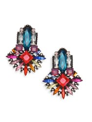 Dannijo Multi Colored Swarovski Crystal Drop Earrings Silver Multi