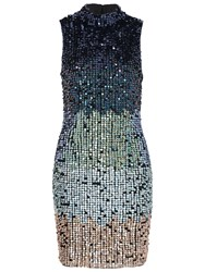 French Connection Cosmic Beam Dress Utility Blue Multi