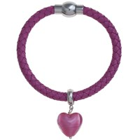 Martick Bohemian Glass Heart Woven Leather Bracelet Pink