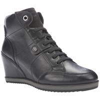 Geox Illusion Wedge Heeled Lace Up Trainers Black Leather