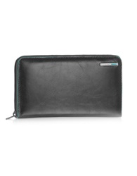 Piquadro Blue Square Zip Around Leather Wallet Black