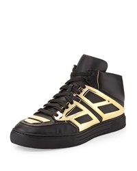Leather High Top Sneaker Black Golden Alejandro Ingelmo