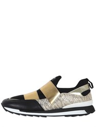 Hogan Rebel Leather And Snake Printed Slip On Sneakers