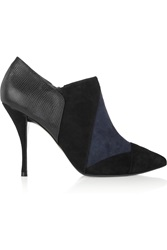Tory Burch Lorelei Suede And Lizard Effect Leather Boots