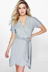 Boohoo Short Sleeve Wrap Dress Grey