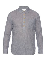 Solid And Striped Popover Cotton Blend Shirt Light Blue