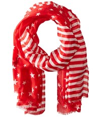 Steve Madden Two Tone Stars And Bars Day Wrap Red Scarves