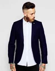 Noose And Monkey Flannel Blazer In Skinny Fit Navy