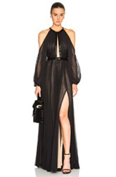 J. Mendel Silk Chiffon Halterneck Long Sleeve Gown In Black