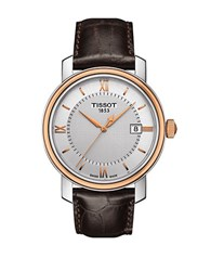 Tissot Mens Bridgeport Two Tone Stainless Steel Leather Strap Watch Rose Gold