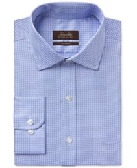 Tasso Elba Men's Classic Fit Blue Tattersall Dress Shirt Only At Macy's