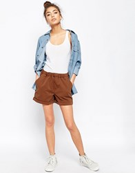 Asos Washed Casual Shorts Brown