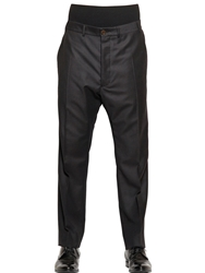 Vivienne Westwood 19Cm Rib Waistband Wool Flannel Trousers Black