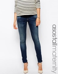Asos Maternity Tall Ridley Skinny Jean In Midwash With Over The Bump Waistband Blue