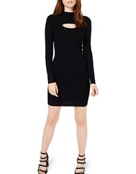 Miss Selfridge Long Sleeve Slit Front Bodycon Knit Dress Black