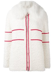 Moncler Gamme Rouge Textured Padded Goat Fur Collar Jacket White