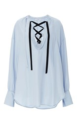 Tome Lace Up Blouse Light Blue