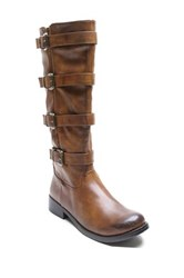 Two Lips Too Joss Buckle Boot Brown