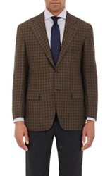 Kiton Men's Checked Two Button Sportcoat Brown