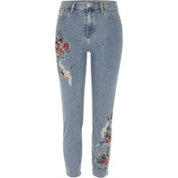 River Island Womens Blue Wash Embroidered Lori Jhigh Rise Jeans