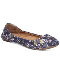 Lucky Brand Emmie Flats Women's Shoes Floral Spritz Print Moroccan Blue