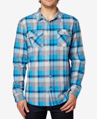 Fox Men's Trail Dust Plaid Long Sleeve Flannel Shirt Blue