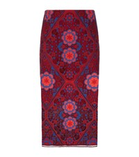 Sandro Calla Crochet Lace Pencil Skirt Female Red