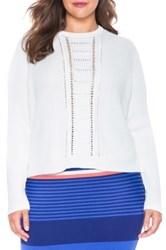 Eloquii Open Stitch Front Ribbed Sweater Plus Size White