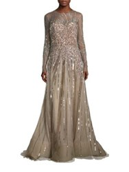 Reem Acra Embellished Tulle Gown Taupe
