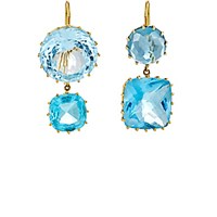Renee Lewis Women's Blue Topaz And Aquamarine Double Drop Earrings No Color