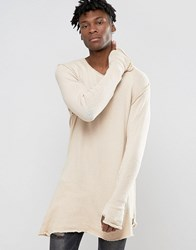 Criminal Damage Longline Long Sleeve T Shirt With Assymetric Raw Hem Beige