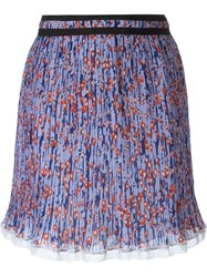Carven Pleated Mini Skirt Pink And Purple
