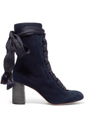 Chloe Lace Up Suede Ankle Boots Midnight Blue
