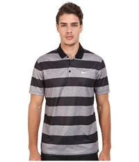 Nike Victory Bold Stripe Polo Dark Grey Black White Men's Short Sleeve Pullover Gray