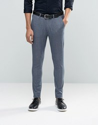 Asos Super Skinny Suit Trousers In Navy Dogstooth Navy