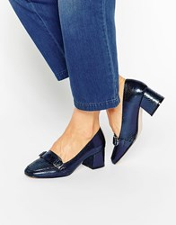 Asos On Time Square Toe Loafers Blue Snake Metallic Navy