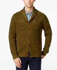 Tommy Hilfiger Men's Max Military Shawl Collar Cardigan New Jungle
